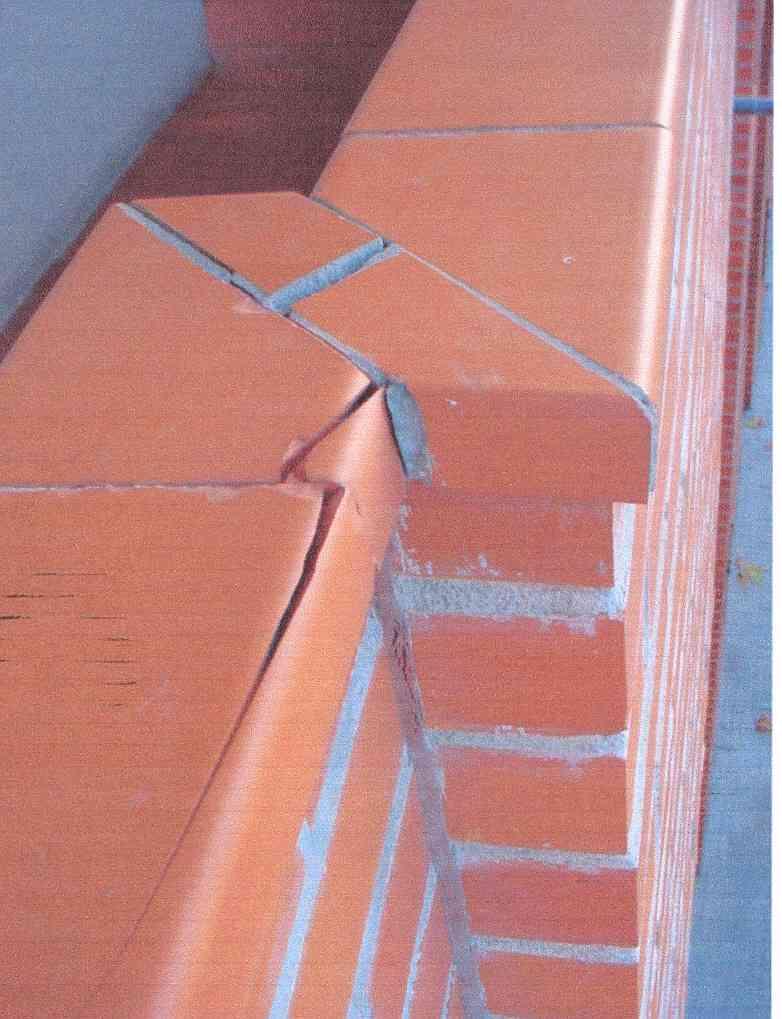 Fisuras en albardilla de la parte superior del muro por cambios de temperatura